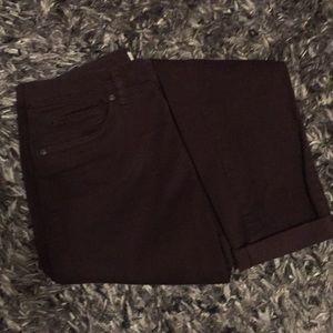 Deep wine / oxblood velvet-like skinny pants
